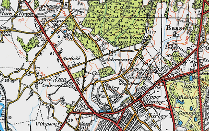 Old map of Aldermoor in 1919