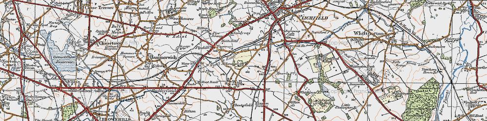 Old map of Aldershawe in 1921