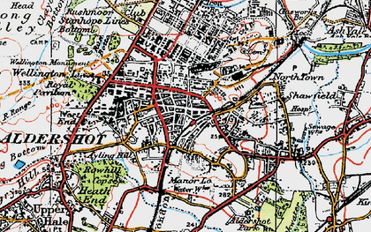 Old map of Aldershot in 1919