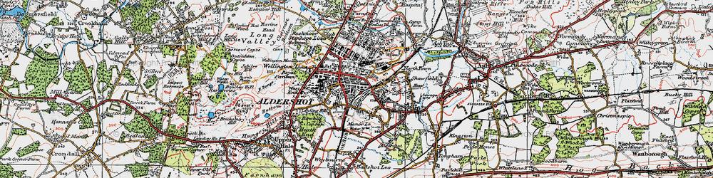 Old map of Aldershot in 1919