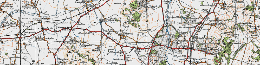 Old map of Alderton Hill in 1919