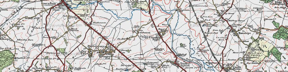 Old map of Alderton in 1919