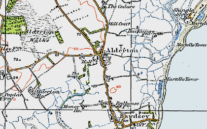 Old map of Alderton in 1921