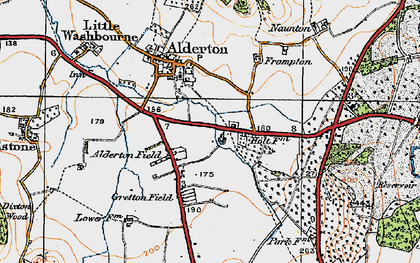 Old map of Alderton Fields in 1919