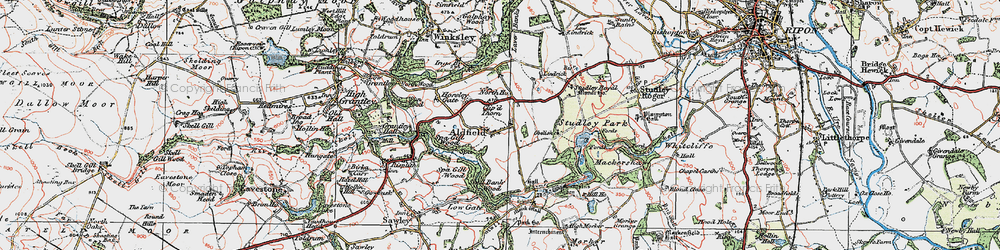 Old map of Fountains Abbey in 1925