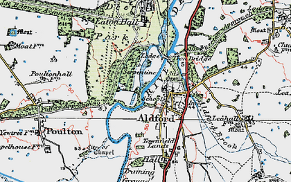Old map of Aldford in 1924