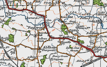 Old map of Aldham in 1921