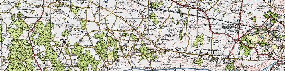 Old map of Aldington in 1921