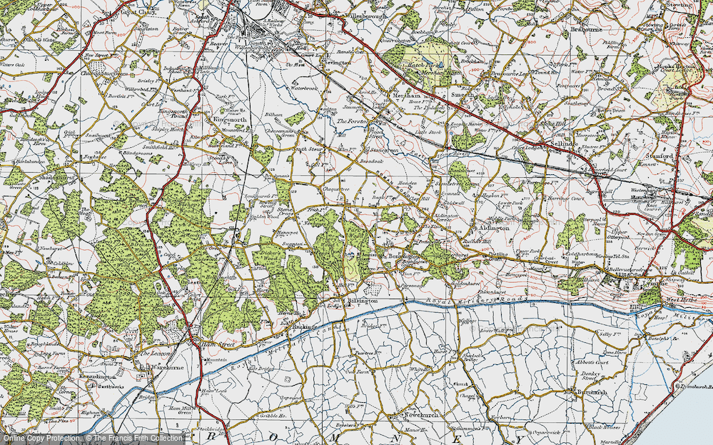 Old Map of Aldington Frith, 1921 in 1921