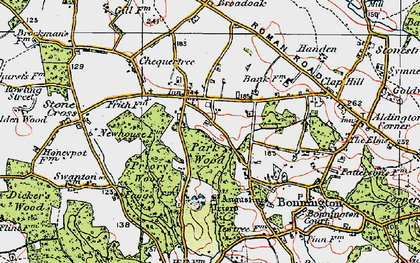 Old map of Aldington Frith in 1921