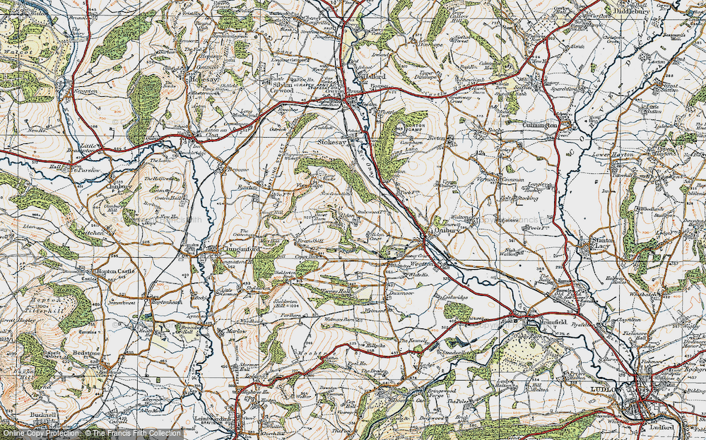 Old Map of Historic Map covering Aldon Court in 1920