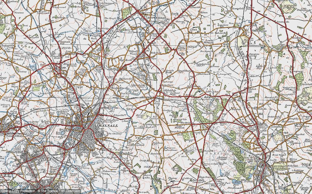 Old Map of Aldridge, 1921 in 1921
