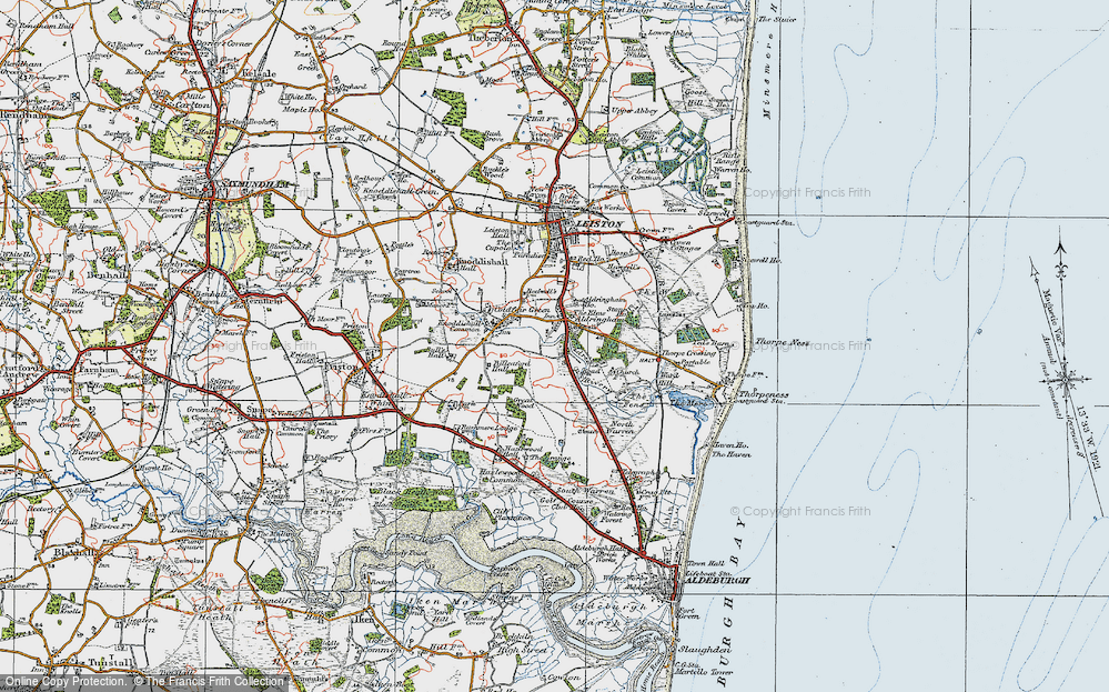 Old Map of Historic Map covering Aldringham Ho in 1921