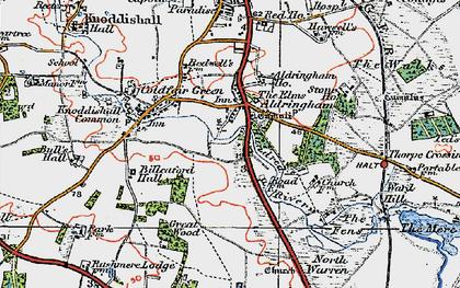 Old map of Aldringham in 1921