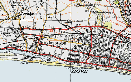 Old map of Aldrington in 1920