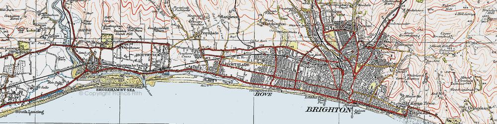 Old map of Aldrington in 1920