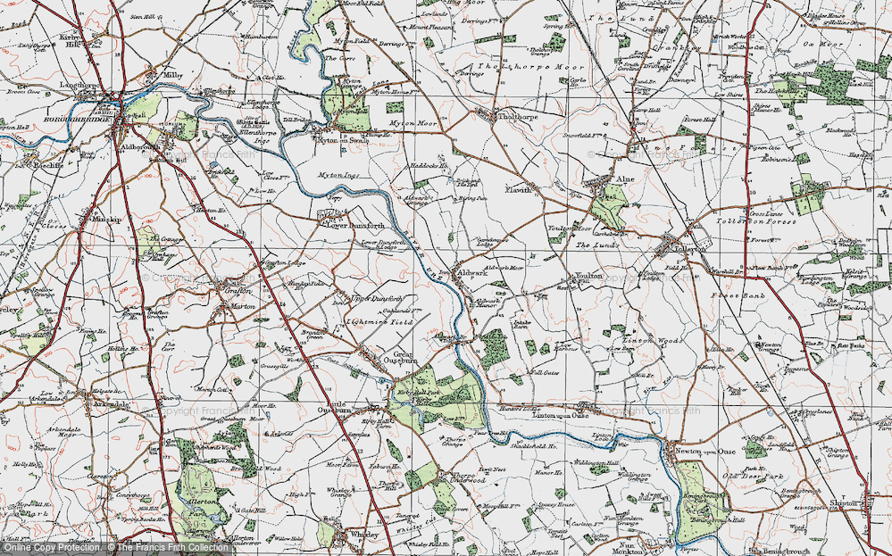 Old Map of Historic Map covering Aldwark Moor in 1925