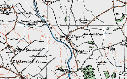 Old map of Aldwark in 1925