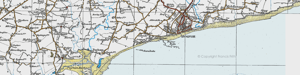 Old map of Aldwick in 1920