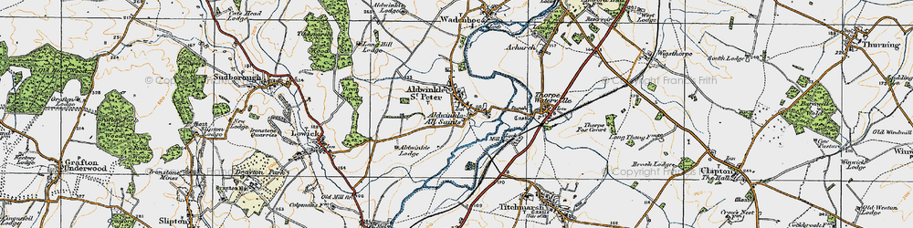 Old map of Aldwincle in 1920