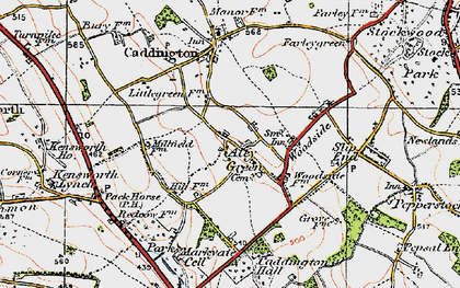 Old map of Aley Green in 1920
