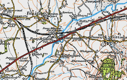 Old map of Alfington in 1919