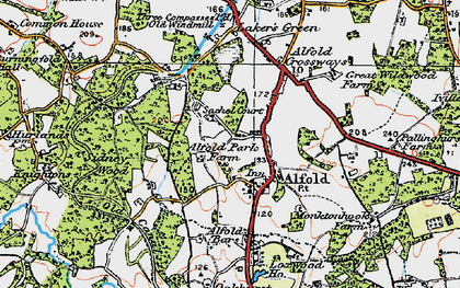 Old map of Alfold in 1920