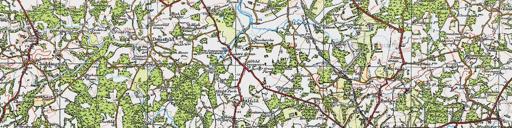 Old map of Alfold Crossways in 1920