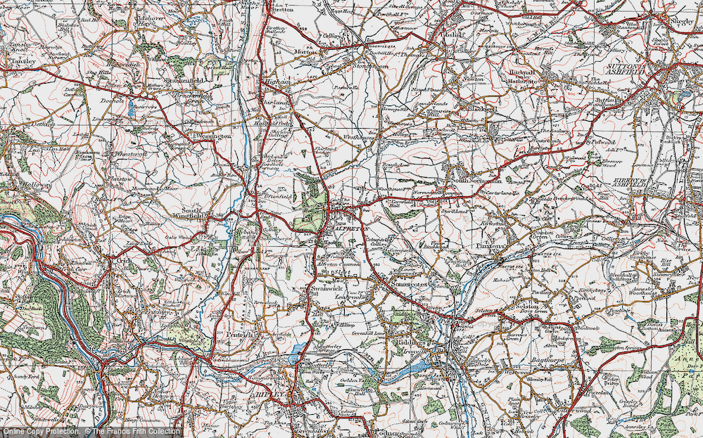 Old Map of Historic Map covering Alfreton Brook in 1923