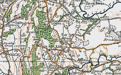 Old map of Alfrick in 1920