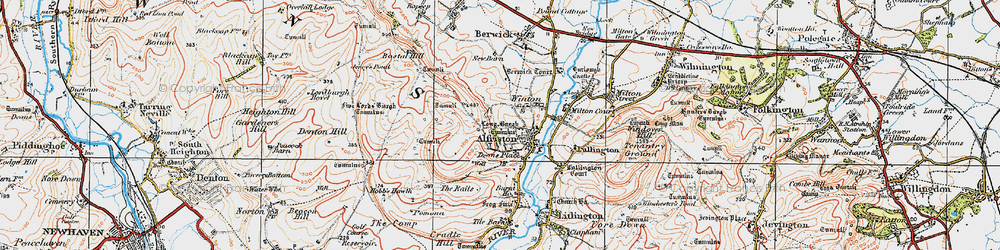Old map of Alfriston in 1920