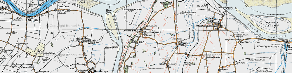 Old map of Alkborough in 1924
