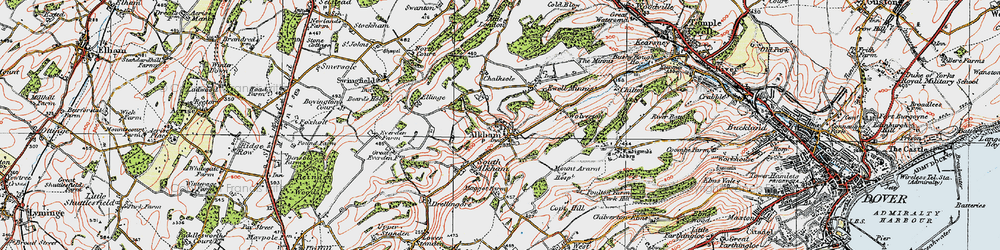 Old map of Alkham in 1920