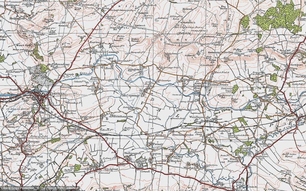 Old Map of Historic Map covering All Cannings Br in 1919