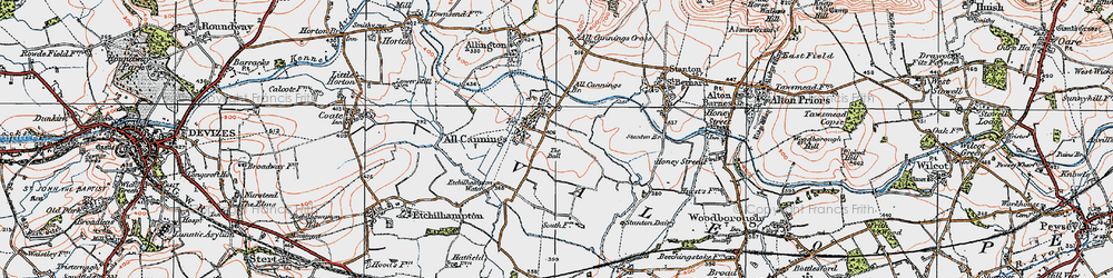 Old map of All Cannings Br in 1919