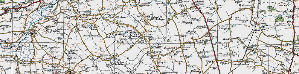 Old map of All Saints South Elmham in 1921