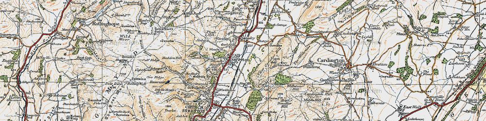 Old map of All Stretton in 1921