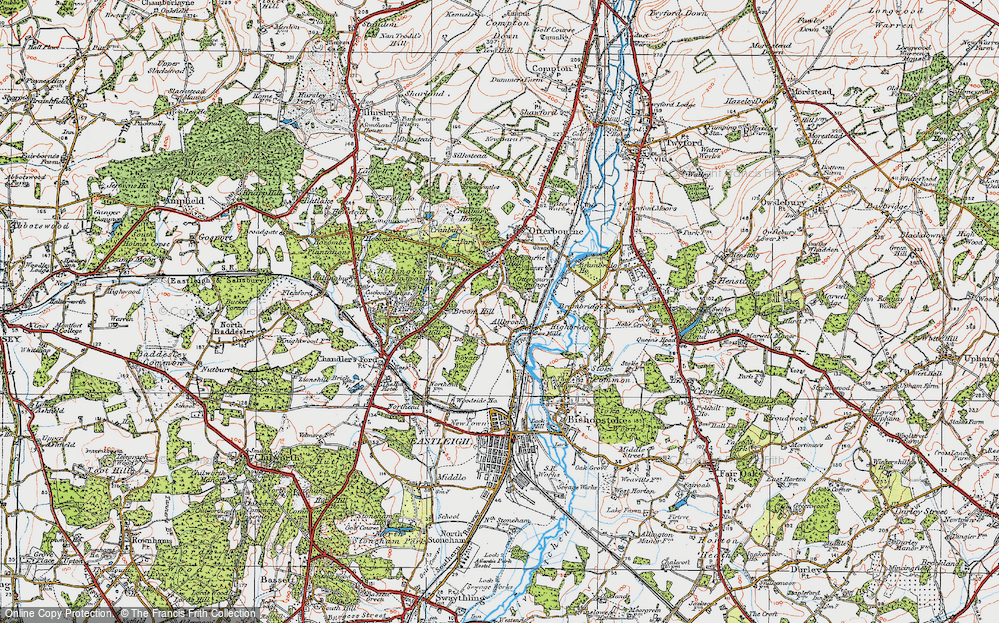 Old Map of Allbrook, 1919 in 1919