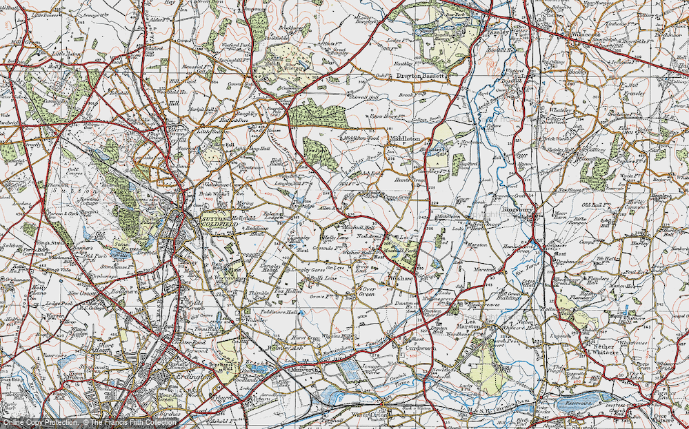Old Map of Allen End, 1921 in 1921