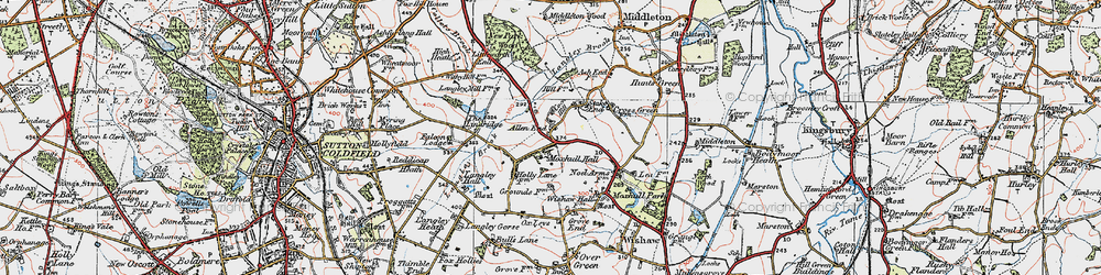 Old map of Allen End in 1921