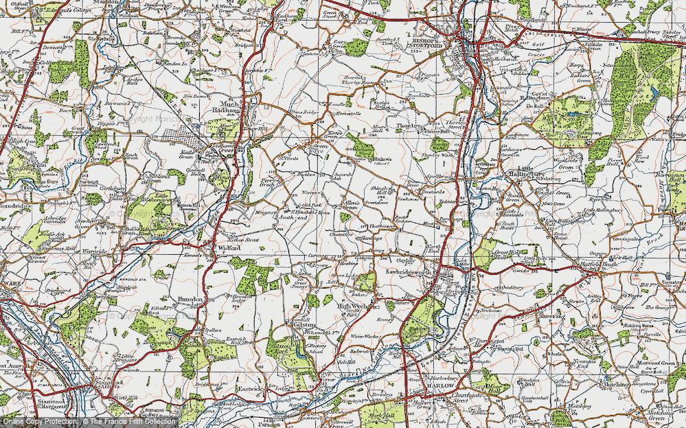 Old Map of Allen's Green, 1919 in 1919