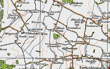 Old map of Allen's Green in 1919
