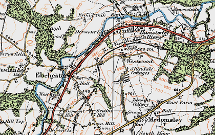 Old map of Allendale Cottages in 1925