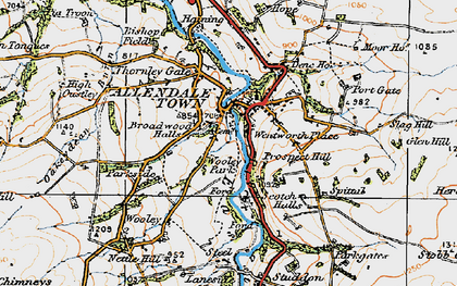 Old map of Allendale Town in 1925