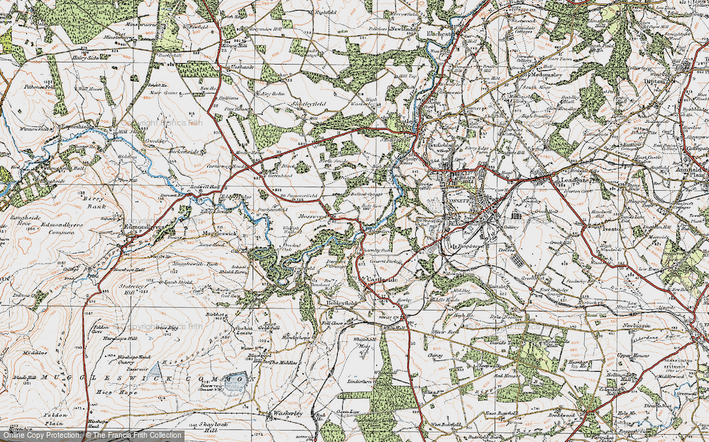 Old Map of Allensford, 1925 in 1925
