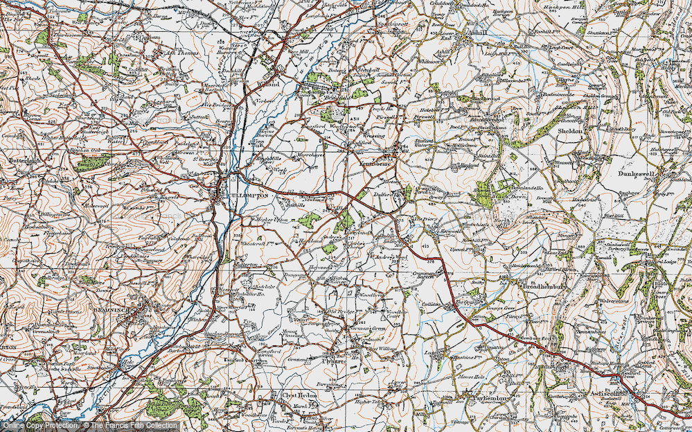 Old Map of Aller, 1919 in 1919
