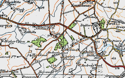 Old map of Aller in 1919