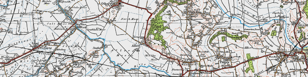 Old map of Aller Wood in 1919