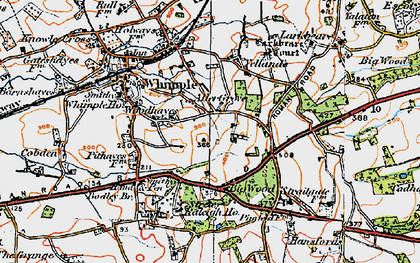 Old map of Whimple Wood in 1919