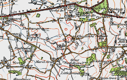 Old map of Allercombe in 1919
